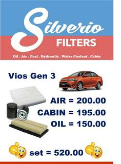 Filters for Vios (Air, Cabin and Oil)