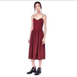 Red maroon summer midi dress