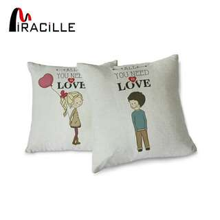 1pair Miracille Decorative Lovely girl and boy Couple Pillowcase Valentine's Day Gift for Him or Her Cushion Cover One Pair