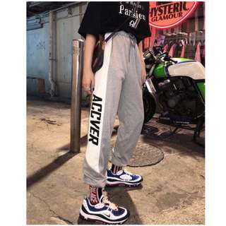 VM 2018四季百搭撞色設計 學生韓版 寬鬆原宿bf風顯瘦 休閒縮口運動褲 2色