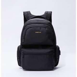 🚚 【現貨】實用型電腦筆電後背包 手提包 背包 肩包 斜挎包 防水尼龍包 多層收納空間 - 黑色