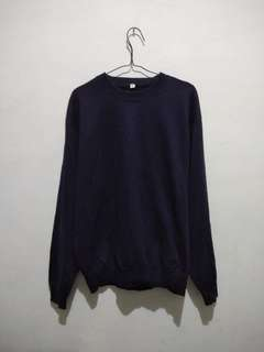Crewneck Uniqlo Basic Navy #mausupreme