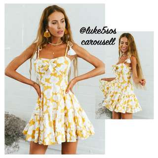 INSTOCKS Mona self tie bow front floral dress - yellow