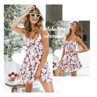 INSTOCKS Mona self tie bow front floral dress - maroon red