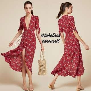 INSTOCKS Royce wrap floral midi long dress - red