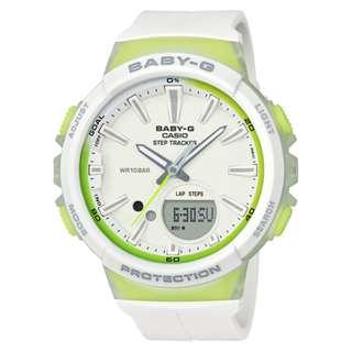 CASIO Baby-G BGS-100 series Step Tracker 白x綠 BGS-100 跑步專用 計步器 BabyG BGS100