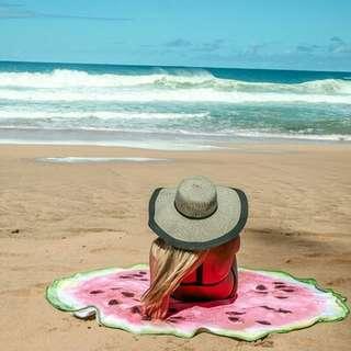 Round Beach Towel Watermelon Design Pink
