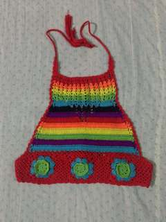 Rainbow crocheted halter top
