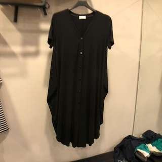 🚚 歐美韓系黑色短袖大尺碼長版上衣洋裝外套罩衫孕婦