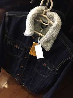 H&M denim fur jacket M