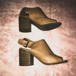 Forever 21 Brown Leather Clogs (Square Heels)
