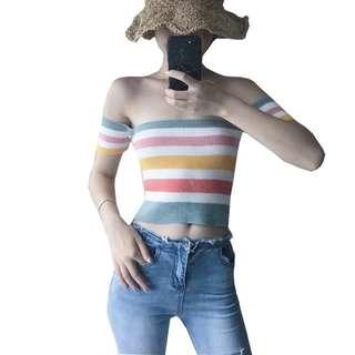 Stripe Off Shoulder Crop Top
