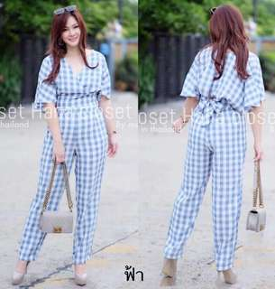Set checked blouse and pants plus size