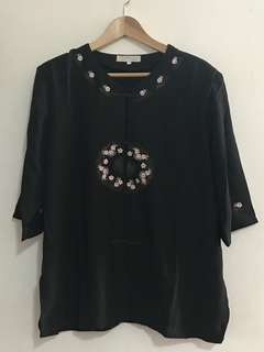 🚚 BN Black Floral Embroidered Chiffon Top / Blouse with Shoulder Pad