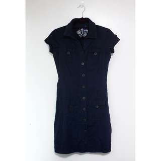 Denim Navy Blue Buttoned Dress