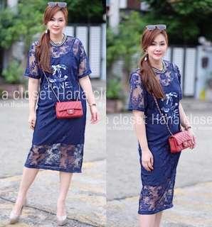 Lace dress and chanel dress ;2 pieces plus size