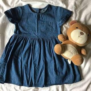 Chambray Mini Polka Dot Dress