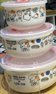 Hello Kitty Lifestyle concept X Log-on 可放微波爐的玻璃碗(含有碗蓋)   限量版—全港1000套  現售: 299