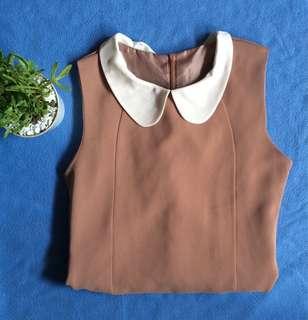 Nude korean collar dress