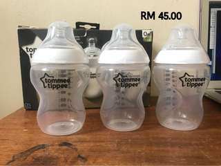 TOMMEE TIPPEE 3 FEEDING BOTTLES 260ml/9floz