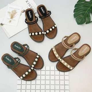 自留款👍質感滿分韓系珍珠兩穿金屬釦環繫帶增高厚底涼鞋 坡跟涼鞋 增高涼鞋