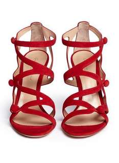 Gianvito Rossi Rouleau loop button caged suede sandal 38.5