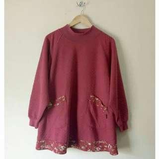 Flower Maroon Sweater