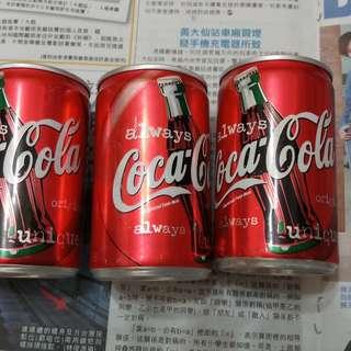 90年代 可口可樂150ml 細罐裝3罐