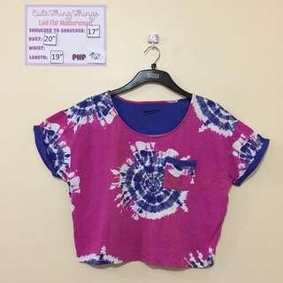 Pink & blue tie-dye crop top