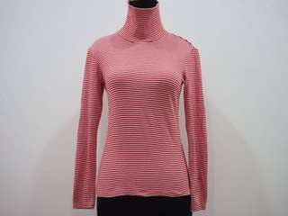 Uniqlo Red White Stripes Turtleneck Longsleeve T-Shirt Top