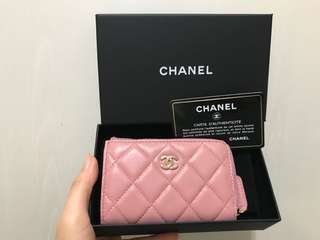 全新Chanel Pink Card Holder Coins Purse