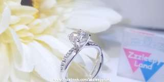 超閃 1卡高炭鑽十心十箭S925純銀6層包金心型戒指,可訂造任何圈碼
