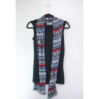 Black Tank Top with Colorful Scarf