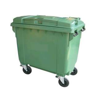 Used Large Green Garbage Bin with Wheels