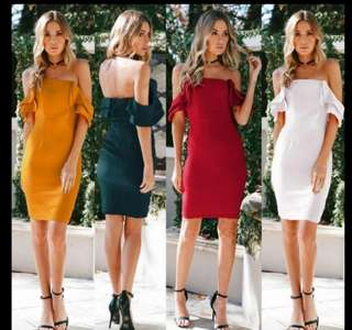 Dress off shoulder yellow green red white