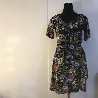 The Riana: Black Floral Wrap-around Dress