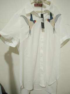 🚚 高單價 超美 喜鵲 刺繡 硬挺 雪紡襯衫