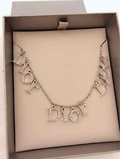 Christian Dior 銀色水晶鑽閃石 LOGO字頸鏈 鍊