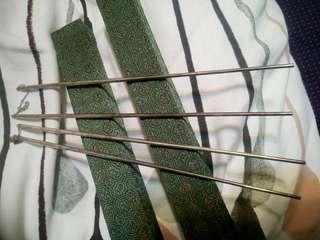 22cm925純銀雕花筷子2对