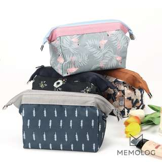 Large Cube Floral Pencil Case, Cosmetic Bag or Travel Makeup Bag