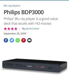 Bluray player Philips BDP3008 blue ray Blu-ray Dvd CD