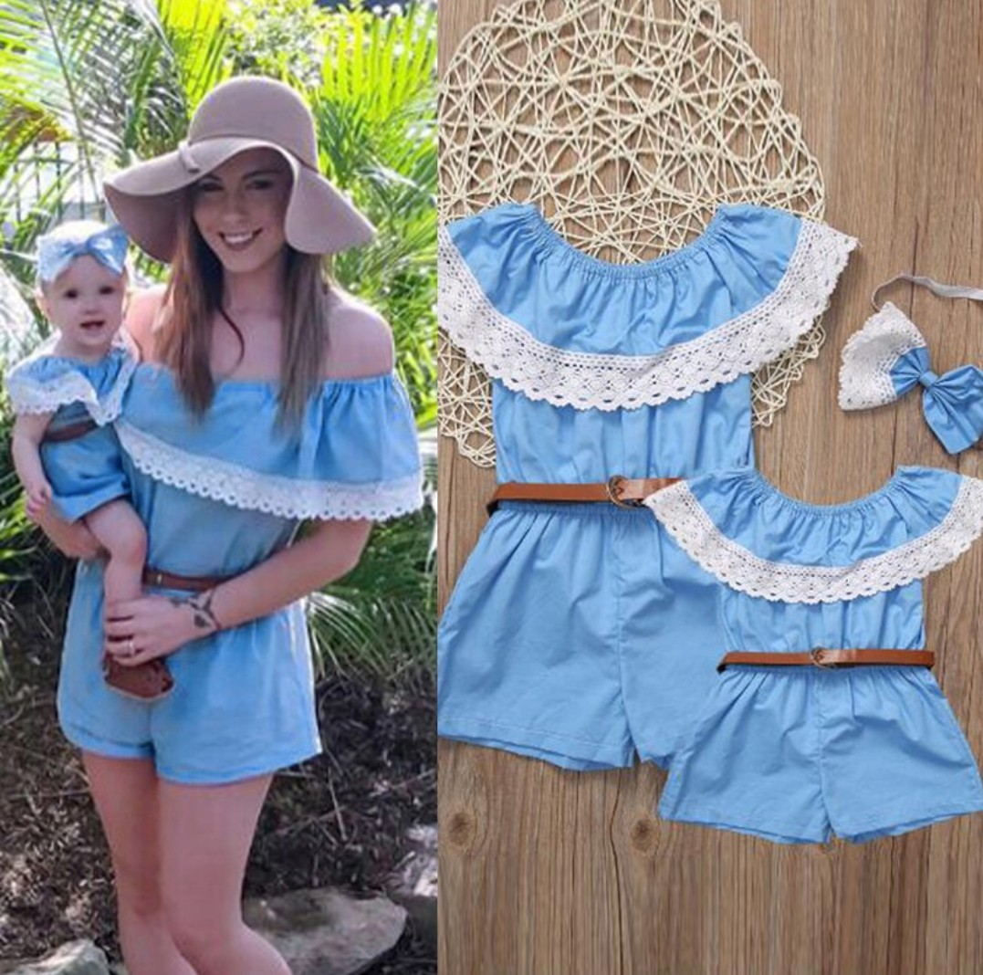012a49737f5 ▷️2pc Mother and Newborn to 3 Years Baby Girl Matching Lace Off ...