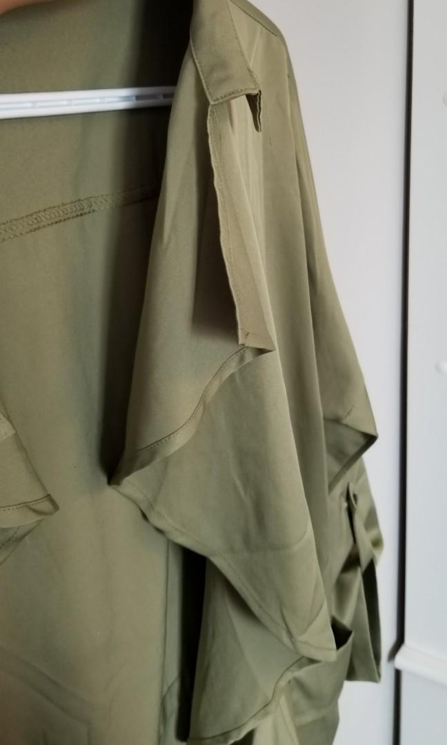 Army green cardigan