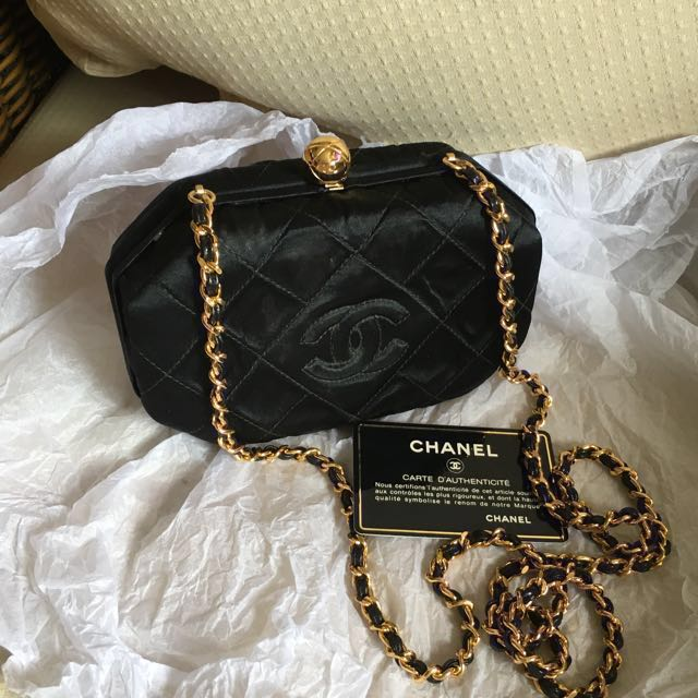 8c1f6296ae8a Authentic Chanel vintage Box clutch sling bag, Luxury, Bags & Wallets,  Sling Bags on Carousell