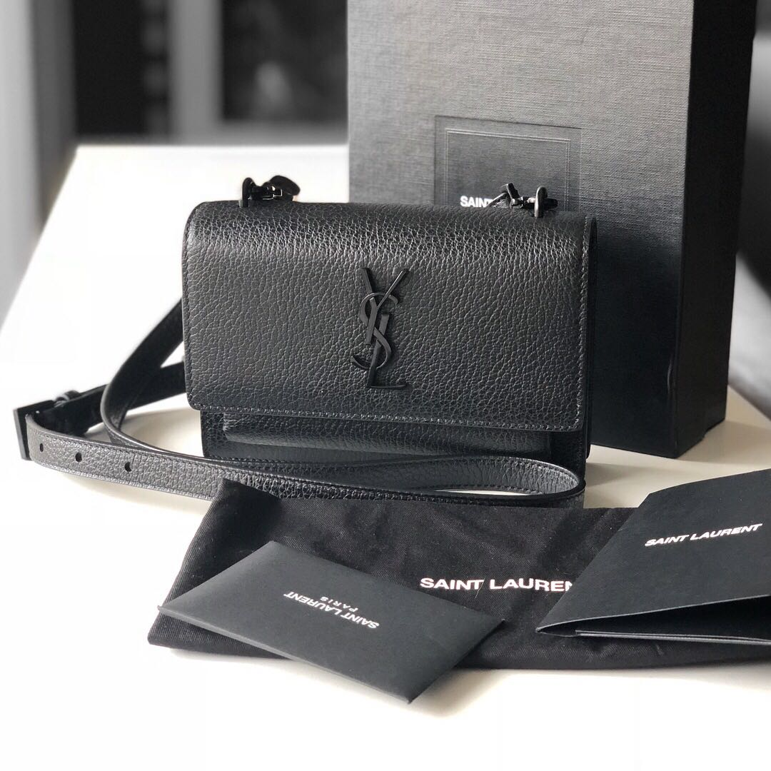 b91795236fa Authentic YSL Yves Saint Laurent Black Mini Sunset Bag, Luxury, Bags &  Wallets on Carousell