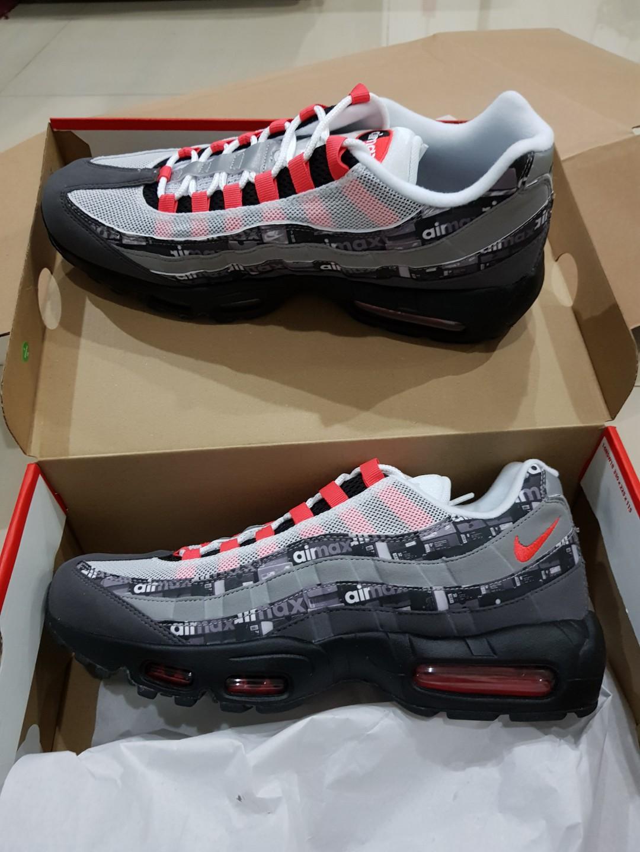 "hot sale online effac 0f399  BNIB  Atmos x Nike ""We Love Nike"" Pack (Nike Air Max 95  Print  - Black  Crimson Ash), Men s Fashion, Footwear, Sneakers on Carousell"
