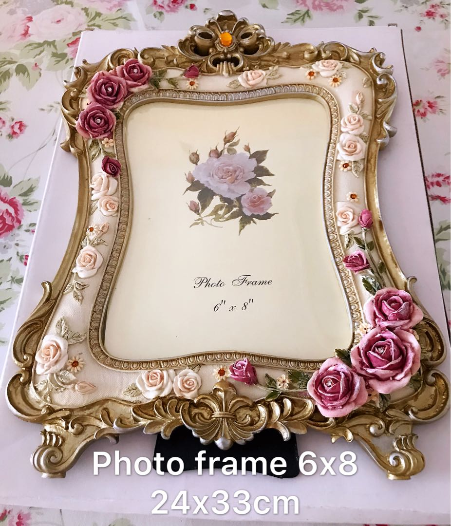 ☑️💯Brand new white rose Victorian photo frame BIG 8x10