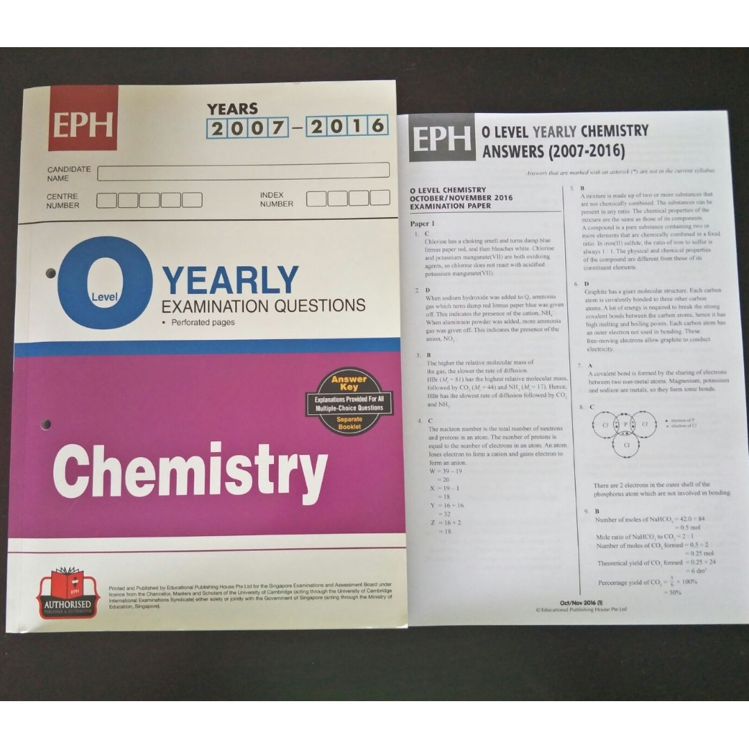 EPH Chemistry O Level Yearly Examination Questions 2007-2016