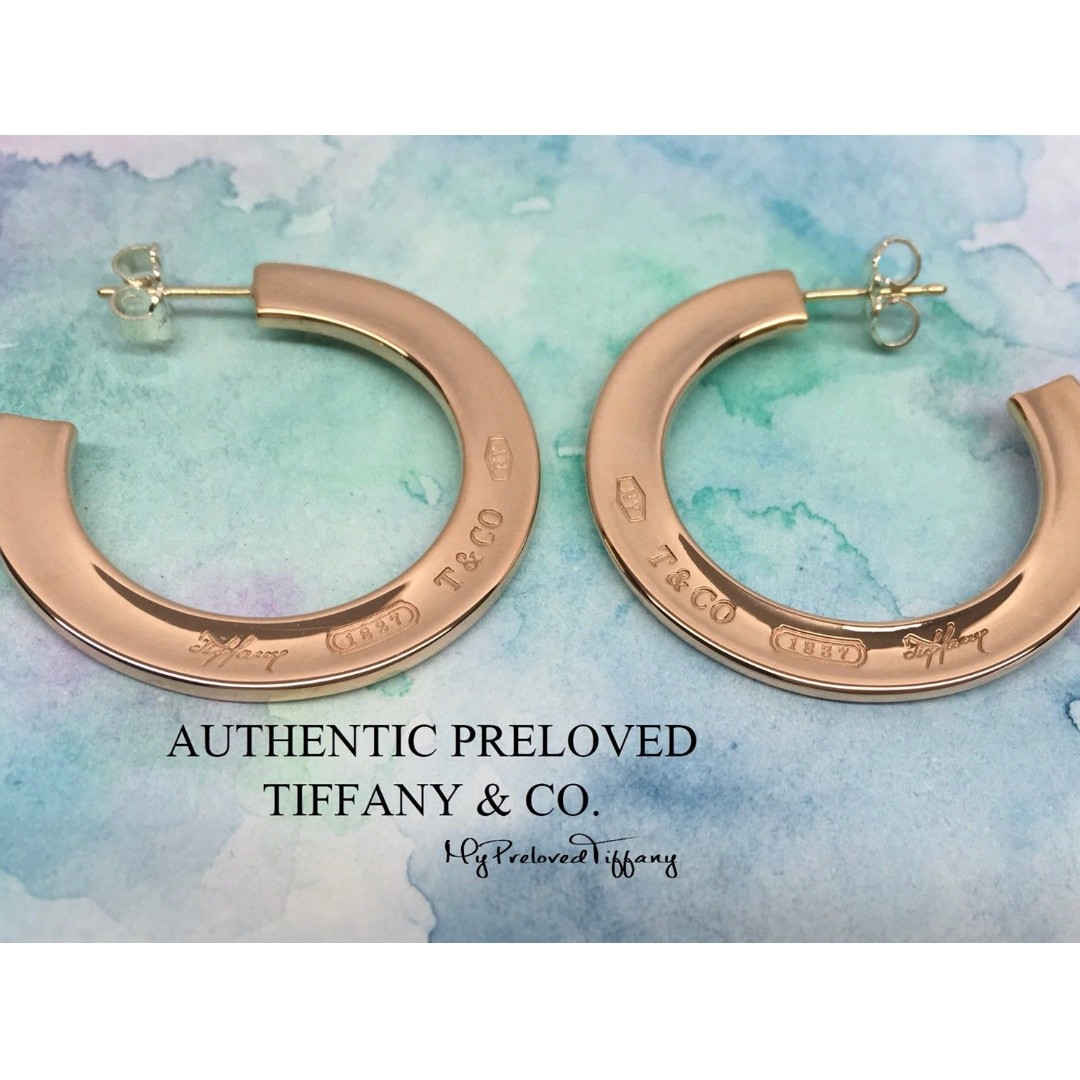 922abe7a5 Excellent Authentic Tiffany & Co. 1837 Rubedo Metal Hoop Earrings ...