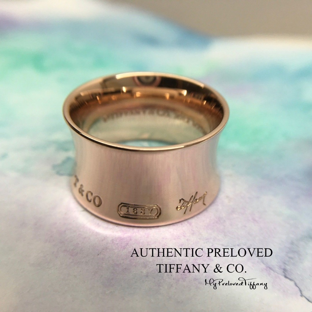 7264a40dd Excellent Authentic Tiffany & Co. 1837 Rubedo Metal Ring #7.75 ...